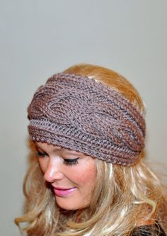 Free crochet headband pattern with flower bing images crochet earwarmer cabled ear warmer winter crochet headband chunky ear warmer choose color taupe brown cappuccino warm hair band christmas gift dt1010fo