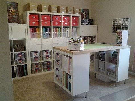 Arbeitszimmer ikea expedit  Love this #island! // Arbeitszimmer aus #Ikea #Regalen - besonders ...