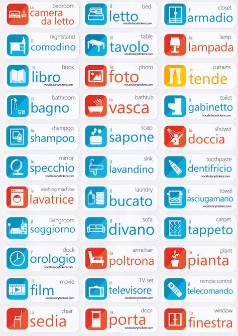 🇮🇹 Italian Language Learning Stickers