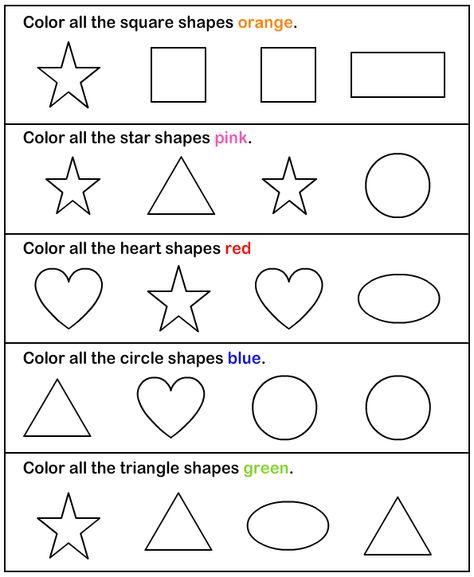 Shapes - math Worksheets - preschool Worksheets   Preschool ...