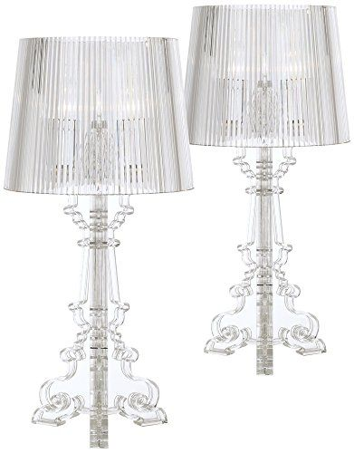 Baroque Clear Acrylic Accent Table Lamp Set Of 2 360 Ligh Https Www Amazon Com Dp B077tx2qxk Ref Cm Sw R Pi Dp U Table Lamp Sets Bedside Night Stands Lamp