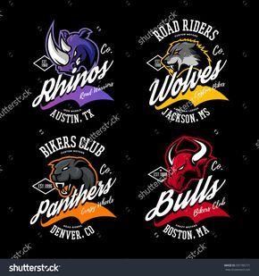 Vintage American Furious Bull Wolf Panther Rhino Bikers Club Tee Print Vector Design Street Wear T Shirt Emblem Premium Quality Wild Animal Logos Art Loup