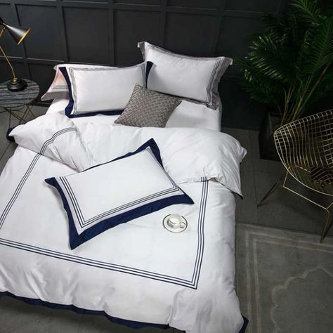 Mayfair White Navy Blue 1000 Thread Count Egyptian Cotton Bed