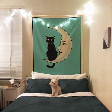 La Luna Cat Card Moon Tapestry #MoonTarot #LaLuna #TarotTapestry #WitchyTapestry #MoonTarotTapestry #CatTapestry #LunaTapestry #TarotCardTapestry #MoonCardTapestry #MoonCat