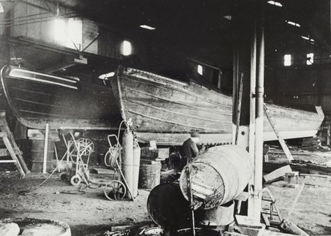 """Caption: """" Grand Union Canal Carrying Company narrowboats in Bulls Bridge dry dock""""  BW192-3-1-13-5 #London #canal #Boat"""