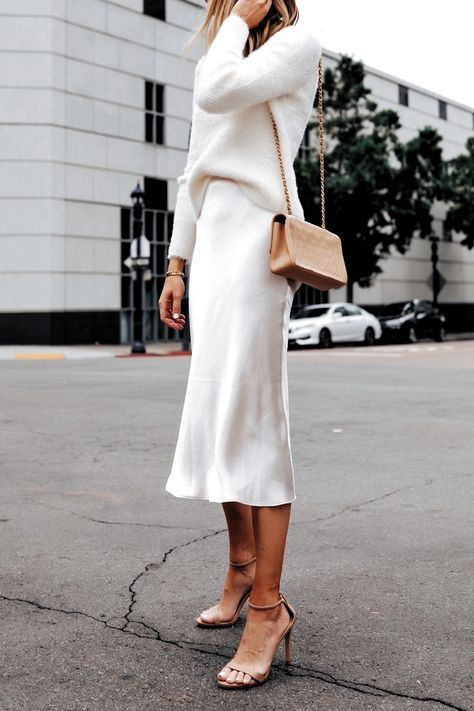 Ivory slip silk skirt and sweater #midiskirt #allwhiteoutfit