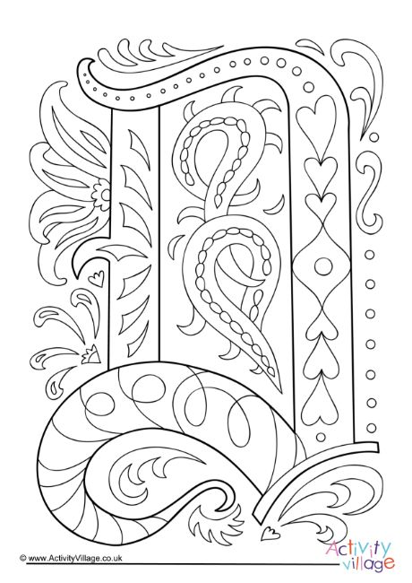 Illuminated Letter D Colouring Page Illuminated Letters Coloring Pages Letter A Coloring Pages