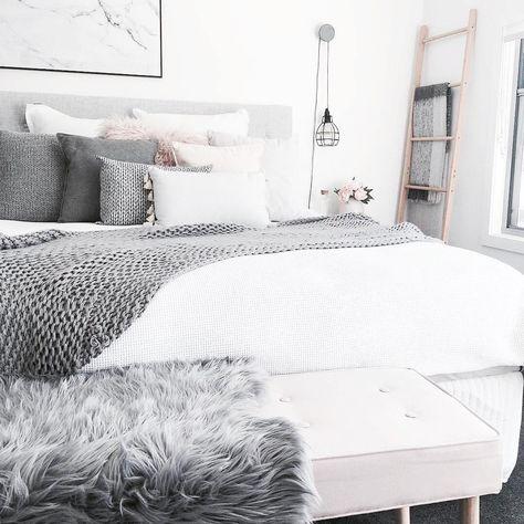Chambre Blanc Gris Noir Rose Scandinave Nordic Avec Plaid