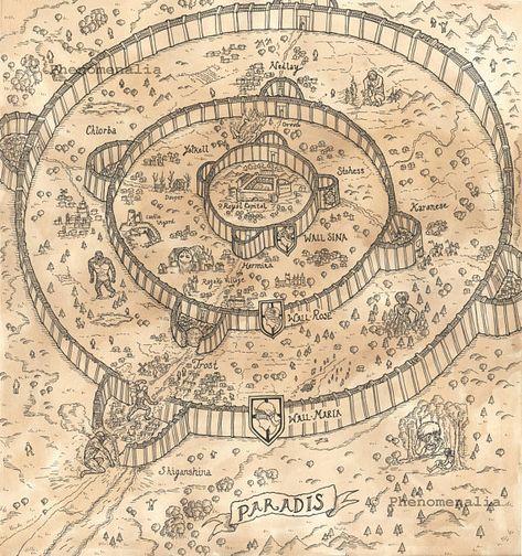 Shingeki No Kyojin Mapa.Attack On Titan Map Of Paradis Digital Download Shingeki