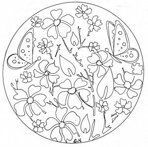 Coloring Mandala Domandalas Flowers Butterflies Mandala Coloring