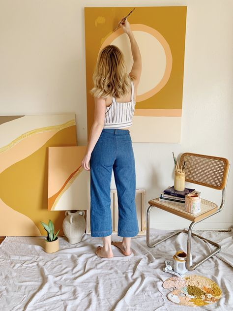 Codie O'Connor in her element wearing our pants in denim.