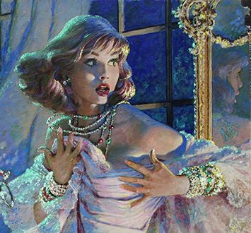 Jewel Thief by Edwin Georgi Pulp Fiction Art, Pulp Art, Retro Art, Vintage Art, Classical Art, Arte Pop, Up Girl, Aesthetic Art, Art Inspo
