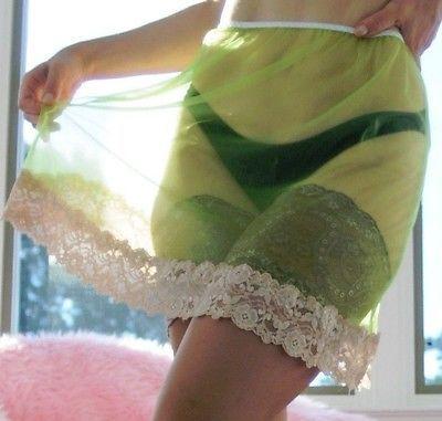 VTG style handmade Sheer Nylon Wide lace Green Blue Half Slip MINI skirt sz L//XL