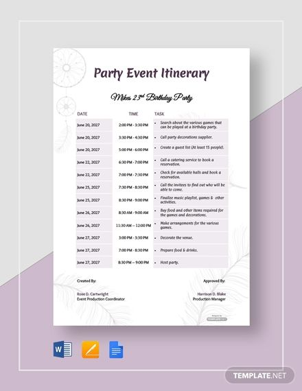 Free Party Event Itinerary Itinerary Template Party Event Party