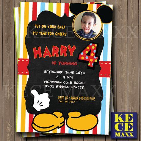 Mickey Invitation BirthdayMinnieInvitationBirthday CardPartyKidsChildren