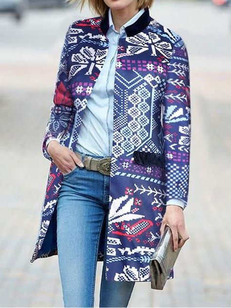 New Arrival Fashion Elegant Slim Floral Long Sleeve Suit Cardigan Coat