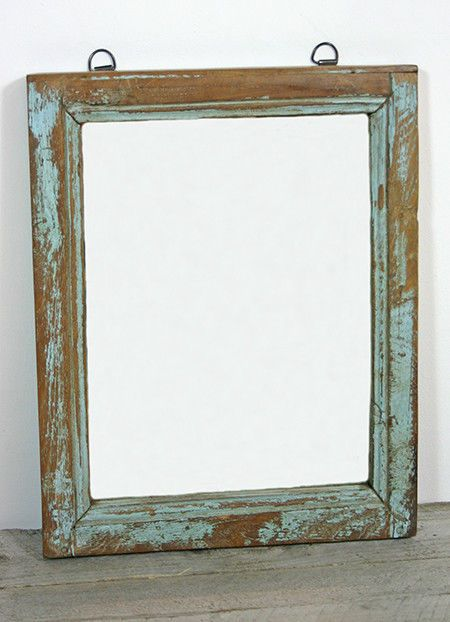 Spiegel Wandspiegel Holzspiegel Holz Vintage 40x30 Unikat Blau