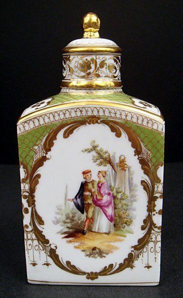 Antique Klemm Dresden Scenic Porcelain Tea Caddy
