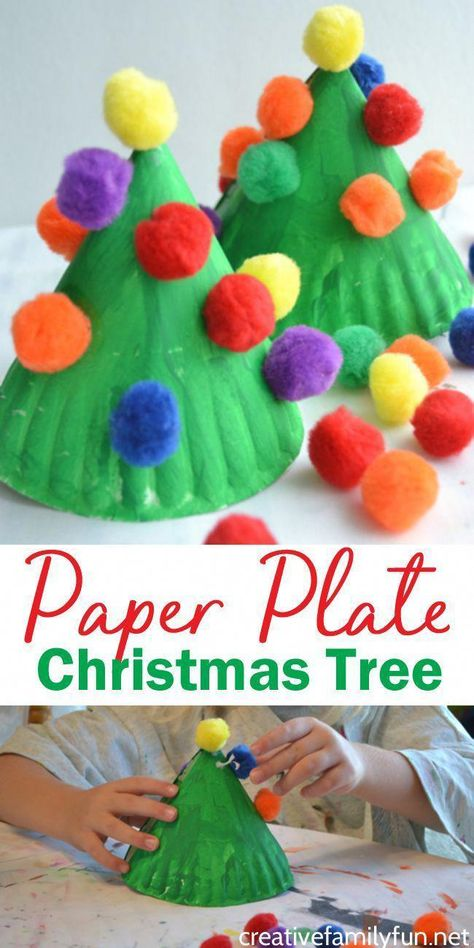 Make this fun and colorful Paper Plate Christmas Tree craft for kids or make several for a perfect kid-made Christmas decoration. by Angel Hong for kids Paper Plate Christmas Tree Kids Craft - Creative Family Fun Christmas Paper Plates, Christmas Tree Crafts, Christmas Decorations To Make, Christmas Projects, Christmas Christmas, Christmas Cactus, Kid Made Christmas Gifts, Christmas Countdown Crafts, Craft Decorations