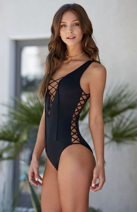 LA Hearts Strappy Side One Piece Swimsuit