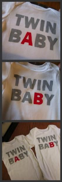 Twin A and Twin B freezer paper and craft paint onesies for twins