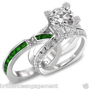 2 75 Ct Unique Engagement Ring Bridal Set Round Diamond Emerald Band