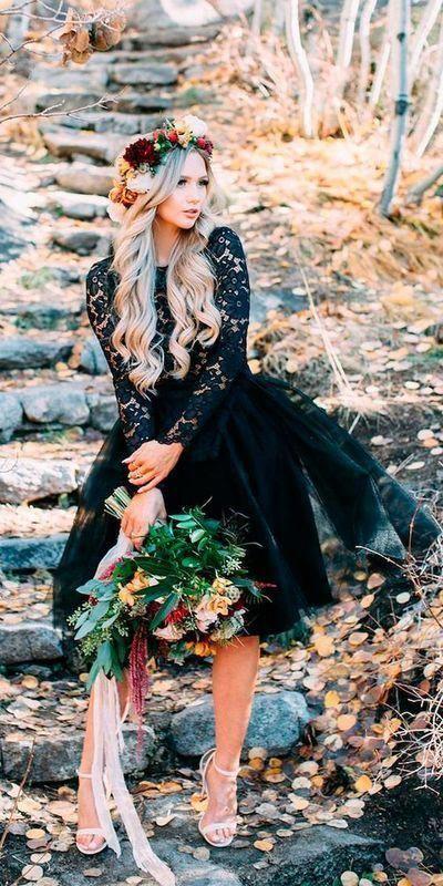Vintage Black Mini Short Wedding Dresses Sheer Long Sleeve Lace Bridal Gowns Short Wedding Dress Black Wedding Dresses Sheer Wedding Dress