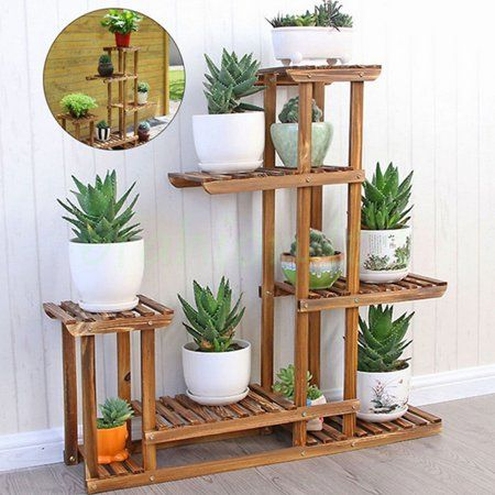 Meigar 6 Tier Wooden Bamboo Plant Stand Indoor Outdoor Planter