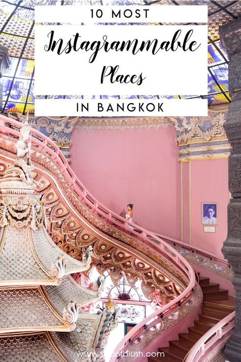 The most amazing things to do in Bangkok!  All these places in Bangkok are incredibly photogenic and fun, perfect for your Instagram.  Do not miss these awesome things to do in Thailand!  #bangkok #thailand #wanderlust #travel #bucketlist #asia #southeastasia #honeymoon #pink #places
