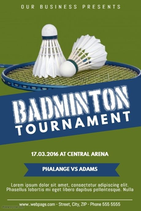 Badminton Tournament Flyer Poster Template Postermywall Badminton Tournament Badminton Poster Template