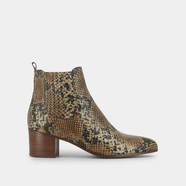 Boots pointues à talon carré Jonak en reptile marron | Talon