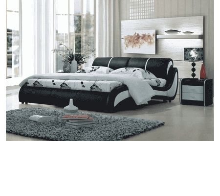 BL9068 Modern Bed In Black And White Leather Finish By VIG Furniture |  Products | Pinterest | Modern