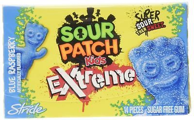 Sour Patch Kids Extreme Sugar Free Gum Blue Raspberry 14 Count Pack Of New Sour Patch Sugar Free Gum Sour Patch Kids