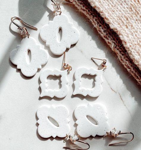 """nikki on Instagram: """"🤍▫️🤍▫️🤍 . . . . #handmade #earrings #smallbusiness #statementearrings #etsyshop #polymerclayjewelry #handmadeearrings #jewelry #etsy…"""""""