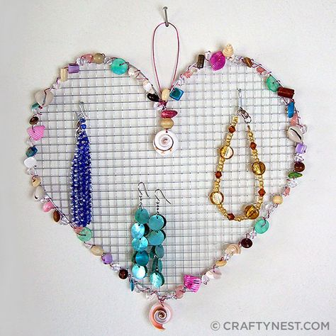 Wire Mesh Jewelry Holder With Beads