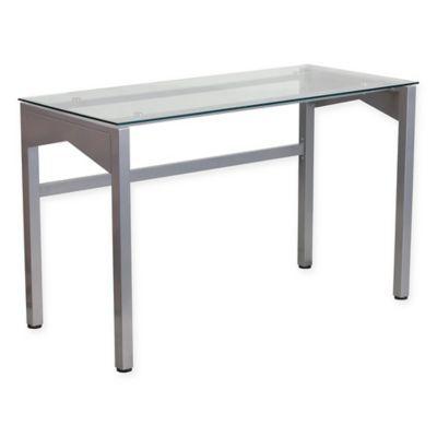 Flash Furniture 29 25 Inch Silver Desk With Clear Tempered Glass With Images Glass Desk Flash Furniture Silver Desk