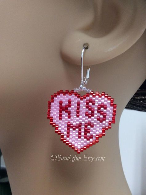 White and Pink Dangle Earrings Pink Heart Earrings Valentine/'s Love Earrings Gift for Her Preciosa Czech Glass Beads Red
