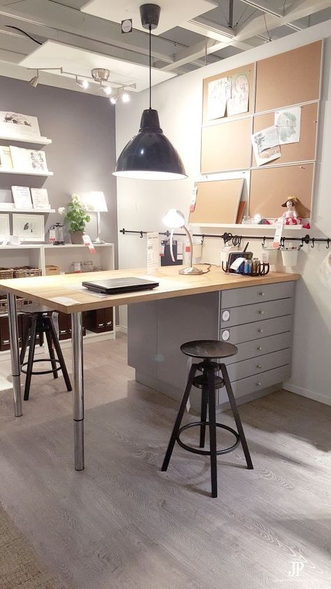 Absolute BEST IKEA Craft Room Ideas - the Original! The BEST Ikea Craft Rooms Organizing Ideas - this is a craft room inside an IKEA showroom! Perfect for a basement or in a large living area. See more in this post by craft expert Jennifer Priest. Ikea Craft Room, Craft Room Storage, Room Organization, Storage Ideas, Craft Room Tables, Craft Room Organizing, Craft Table Ikea, Paint Storage, Ikea Storage