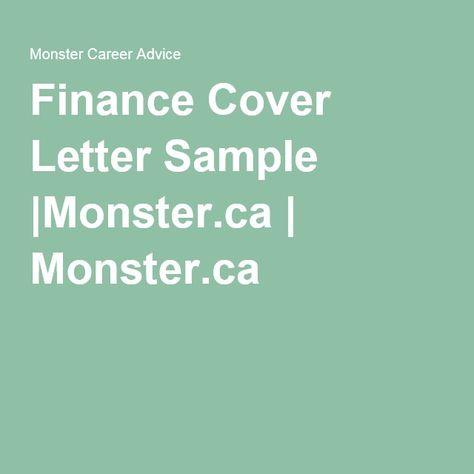 Finance Cover Letter SampleMonsterca Monsterca Career   Sample Cover Letter  For Finance Job  Finance Cover Letter Examples