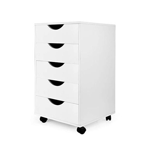 Amazon Com Emerit 5 Drawer Wood File Cabinet Roll Cart Drawer For