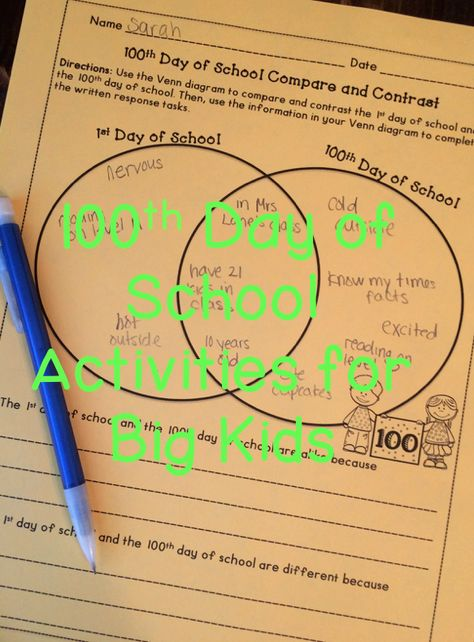 100th Day of School Activities for Upper Elementary | For the ...