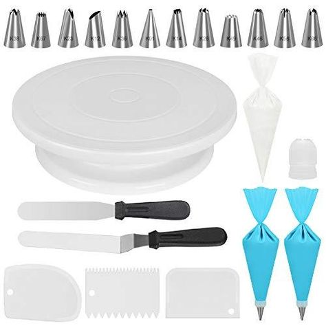 Kootek Cake Decorating Kits Supplies with Cake Turntable, 12 Numbered Cake Decorating Tips, 2 Icing Spatula, 3 Icing Smoother, 2 Silicone Piping Bag, 50 Disposable Pastry Bags and 1 Coupler Revolving Cake Turntable: Turns smoothly in clockwise or anticlockwise direction, allows you easily create beautiful borders when decorating cakes. (Note: The decorating tips, bags and scraper are at the bottom of the cake turntable when you open the package) Numbered Cake Decorating Tips: 12 decorating tips  Icing Tools, Fondant Tools, Cake Decorating Supplies, Decorating Tips, Cake Decorating Piping, Baking Supplies, Cupcakes, Cupcake Cakes, Tamale Dough Recipe