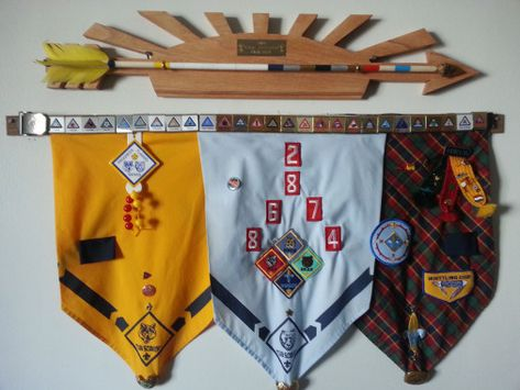 Arrow of Light plaque and display for awards earned in Cub Scouts. Using Neckerchiefs from rank advancement. #usedcars #used #cars #pinewood #derby