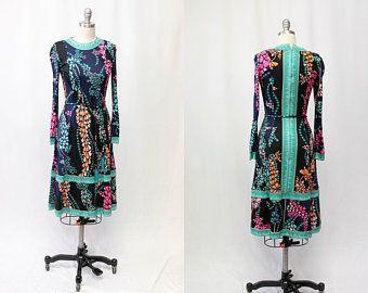 Vintage 1960s Silk Averardo Bessi Green Blue Pink Print Dress Super Rare Designer Belt With Beaded Fringe Pink Print Dress Vintage Clothing Online Print Dress