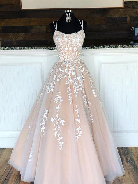 Champagne Long Lace Wedding Dresses, Champagne Lace Formal Graduation Evening Dresses