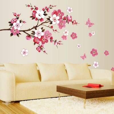 Details About Large Cherry Blossom Flower Butterfly Tree Wall Stickers Art Decal Home Decor In 2020 With Images Sticker Wall Art Vinyl Art Tree Wall Stickers