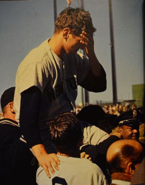 A victorious Ralph Terry being carried off the field after a 1-0 victory over the San Francisco Giants in game 7 of the 1962 World Series.  Terry was also Series MVP---his personal redemption after giving up Mazeroski's 9th inning home run in game 7 of the 1960 World Series.