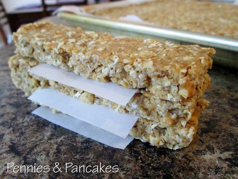 Granola Bars ($0.08 each) :: honey, brown sugar, peanut butter, butter, quick oats, rice cereal, and vanilla.