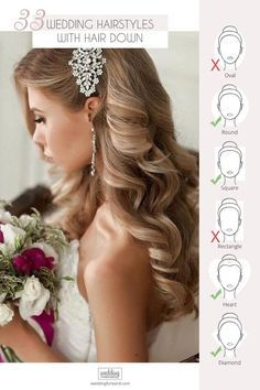 33 Wedding Hairstyles With Hair Down  Wedding hairstyles with hair down are perfect for spring or summer celebration. Have inspired with our wedding hairstyle ideas for hair down. #weddings #bride #weddinghairstyles #weddinghairstylesdown