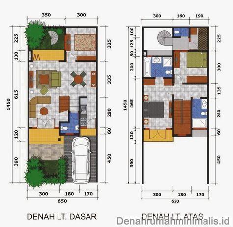 gambar denah rumah minimalis type 36 2 lantai 3 kamar